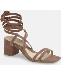 f12e12c32a9 Missguided - Taupe Two Strap Lace Up Mid Heel Sandals - Lyst