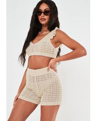 Missguided Co Ord Crochet Crop Top - Multicolour