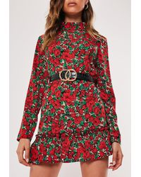 Missguided Red Floral High Neck Drop Waist Loose Fit Smock Dress