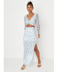 Missguided Checkerboard Print Split Hem Maxi Skirt - Blue