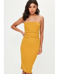 Missguided | Yellow X Front Bandeau Midi Dress | Lyst