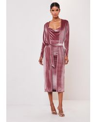 Missguided Blush Velvet Midi Dress And Kimono Jacket Co Ord Set - Pink