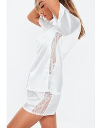 Missguided White Lace Panel Short Sleeve Pyjama Set