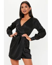 97e20a6c0d Lyst - Missguided Black Tie Wrap Skater Skirt Dress in Black