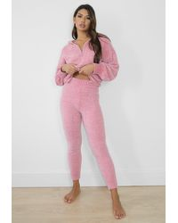 Missguided Co Ord Chenille Knit Joggers - Pink