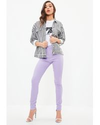 Missguided - Purple Vice High Waisted Skinny Jeans - Lyst