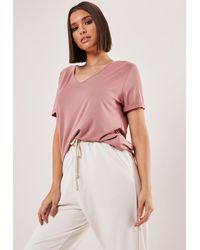 Missguided Brown V Neck Boyfriend T Shirt
