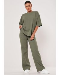 Missguided Rib T Shirt And Wide Leg Trousers Co Ord Set - Green