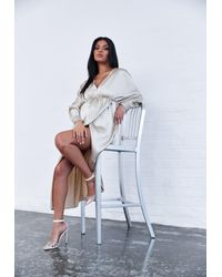 Missguided Champagne Satin Kimono Sleeve Maternity Maxi Dress - Metallic