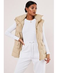 Missguided Belted Puffer Gilet - Natural