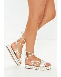 48ec54e3a7a5b7 Missguided - White Flatform Studded Ankle Tie Sandals - Lyst