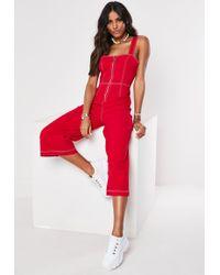 2922946f3d Missguided - Red Denim Contrast Stitch Zip Through Jumpsuit - Lyst