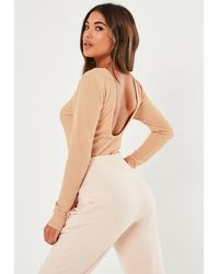 Missguided Textured Rib Low Scoop Back Long Sleeve Bodysuit - Natural