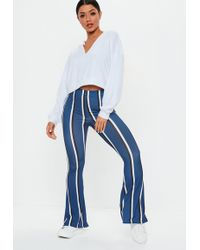 Missguided - Blue Stripe Flare Pants - Lyst