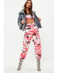 Missguided - Premium Pink Camo Printed Cargo Trousers - Lyst