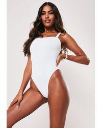 Missguided White Rib Square Neck High Leg Swimsuit