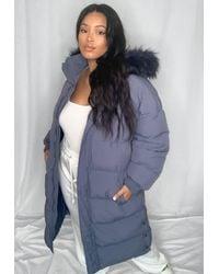 Missguided Size Blue Faux Fur Hooded Longline Puffer Coat