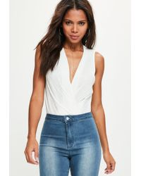 Missguided - White Pleated Sleeveless Wrap Bodysuit - Lyst
