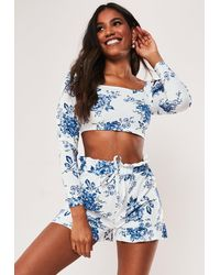 Missguided Tall White Co Ord Porcelain Frill Shorts