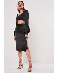Missguided Petite Black Tie Front Midi Skirt