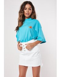 Missguided White Exposed Fly Denim Mini Skirt