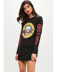 Missguided | Black Long Sleeve Guns And Roses Tshirt Dress | Lyst