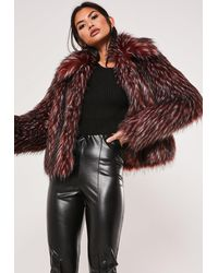 Missguided Brown Tipped Faux Fur Coat