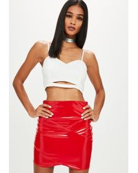 Missguided - White Crepe Cut Out Bralet - Lyst