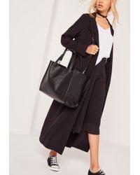 Missguided Clean Edge Textured Tote Bag Black