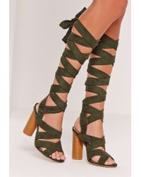 202fc665533 Missguided - Strappy Wrap Around Block Heel Sandal Khaki - Lyst