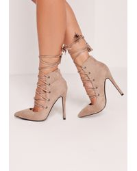 Missguided High Back Lace Up Court Shoe Nude - Gray