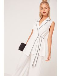 Missguided Contrast Piped Sleeveless Long Waistcoat White
