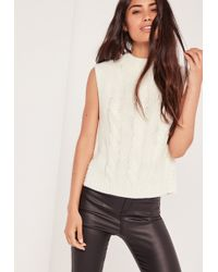 Missguided High Neck Cable Sleeveless Sweater Cream - White