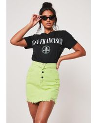 Missguided Lime Foldover Detail Denim Skirt - Multicolour