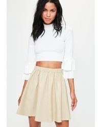 1291cf218 Missguided - Cream Faux Leather Gathered Waist Mini Skirt - Lyst