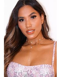 Missguided Look Layered Charm Drop Necklace - Metallic