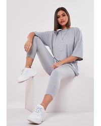 Missguided Petite Gray Oversized T Shirt And Leggings Co Ord Set