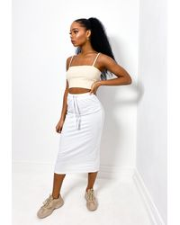 Missguided Grey Jersey Midi Skirt