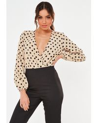 Missguided Polka Dot Wrap Bodysuit - Natural