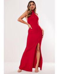 Missguided Red Choker Maxi Dress