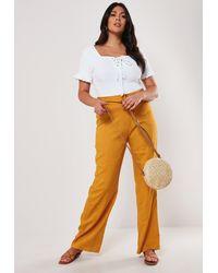 Missguided Size Mustard Linen Blend Belted Pants - Orange