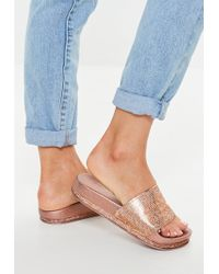 Missguided - Rose Gold All Over Diamante Flatform Sliders - Lyst