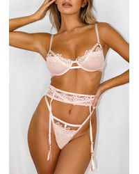 Missguided Blush Lace Trim Suspender Belt - Pink