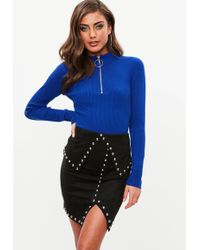 Missguided - Black Studded Faux Suede Mini Skirt - Lyst