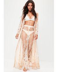 Missguided Premium Nude Eyelash Lace Maxi Beach Kimono - Natural