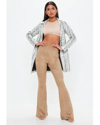 Missguided - Camel Faux Suede Flared Trousers - Lyst