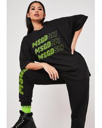 Missguided Msgd Ski Black Slogan Oversized T Shirt