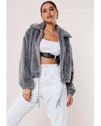 Missguided Grey Cropped Faux Fur Bomber Jacket - Gray