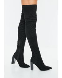 Missguided - Black Pointed Toe Over The Knee Faux Suede Boots - Lyst