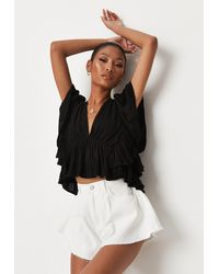 Missguided Frill Sleeve Plunge Top - Black